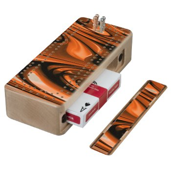 Abstract Amber Ocean Wood Cribbage Board