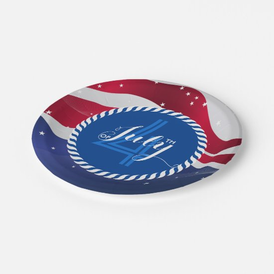 Abstract American Flag 4th Of July Template Paper Plate
