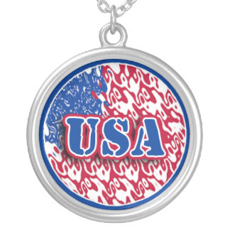 Abstract American Flag Necklace