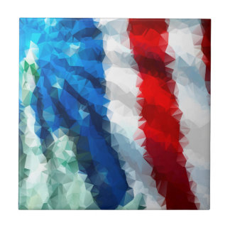 Abstract American Flag/Small Ceramic Photo Tile