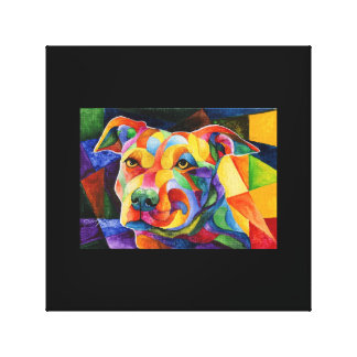 Abstract American Pit bull Terrier canvas painting