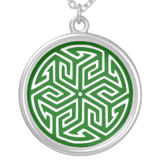 Abstract Ancient Design - Customizable Silver Plated Necklace