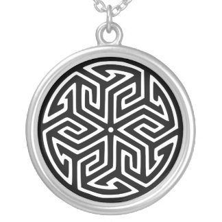Abstract Ancient Design Silver Plated Necklace