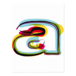 Abstract and colorful letter a postcard