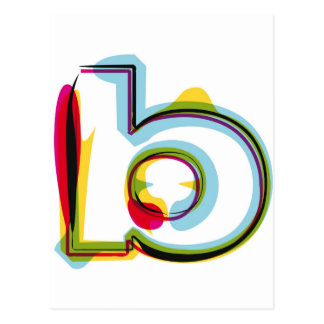 Abstract and colorful letter b postcard