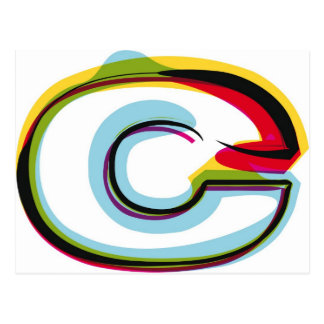 Abstract and colorful letter c postcard