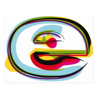 Abstract and colorful letter e postcard