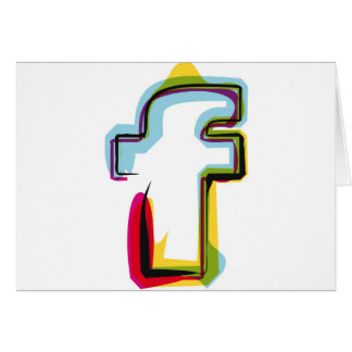 Abstract and colorful letter f card