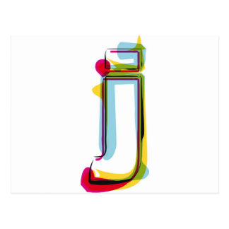 Abstract and colorful letter j postcard