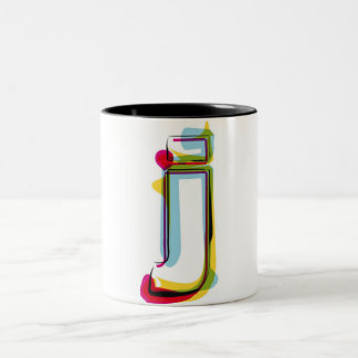 Abstract and colorful letter j Two-Tone coffee mug