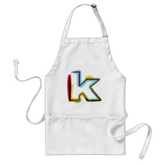 Abstract and colorful letter k adult apron