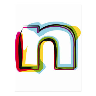 Abstract and colorful letter n postcard