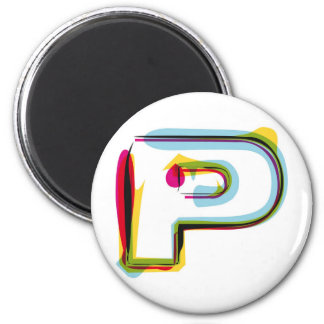 Abstract and colorful letter P Magnet