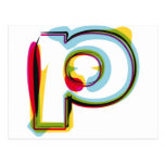Abstract and colorful letter p postcard