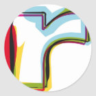 Abstract and colorful letter r classic round sticker