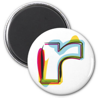 Abstract and colorful letter r magnet