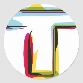 Abstract and colorful letter T Classic Round Sticker