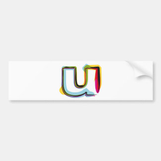Abstract and colorful letter u bumper sticker