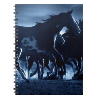 Abstract Angel Horses Moonlight Spiral Notebooks