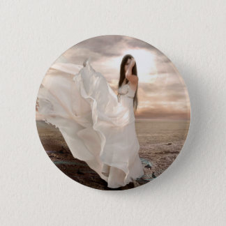 Abstract Angel White Dressed Beauty Pinback Button