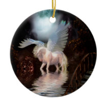 Abstract Angel White Horse Ceramic Ornament