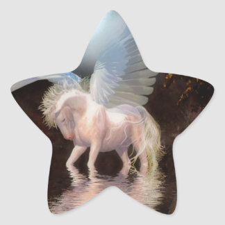 Abstract Angel White Horse Star Sticker