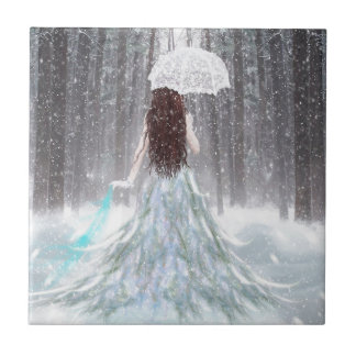 Abstract Angel Winter Snow Princess Small Square Tile