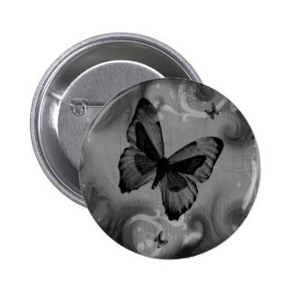 Abstract Animal Black Butterfly Pinback Button