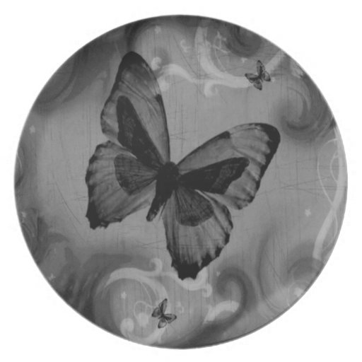 Abstract Animal Black Butterfly Dinner Plates