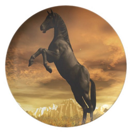 Abstract Animal Black Horse Plates