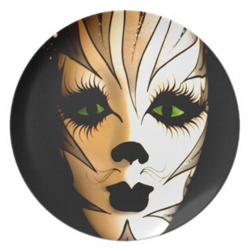 Abstract Animal Cat Mask Party Plate