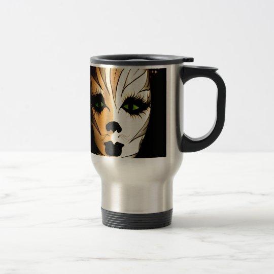 Abstract Animal Cat Mask Travel Mug