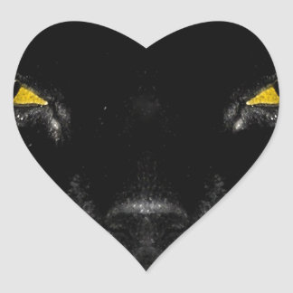 Abstract Animal Cats Eye Yellow Heart Sticker
