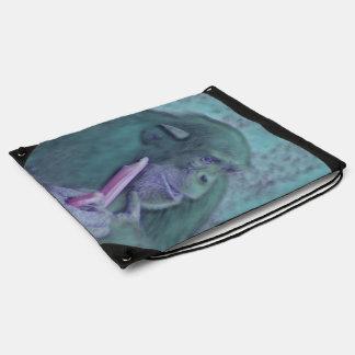abstract animal chimp drawstring backpack