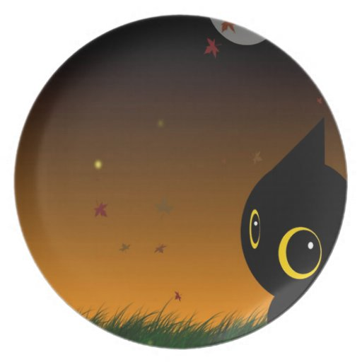 Abstract Animal Cute Night Cat Dinner Plate