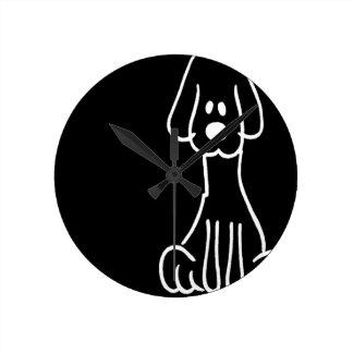 Abstract Animal Doodle Dog Round Wallclocks
