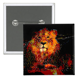 abstract Animal - Lion 2 Inch Square Button