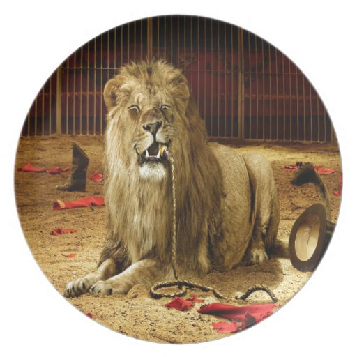 Abstract Animal Lion Hungry Dinner Plate