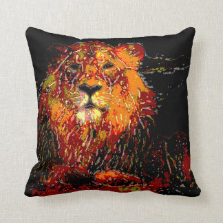 abstract Animal - Lion Throw Pillows
