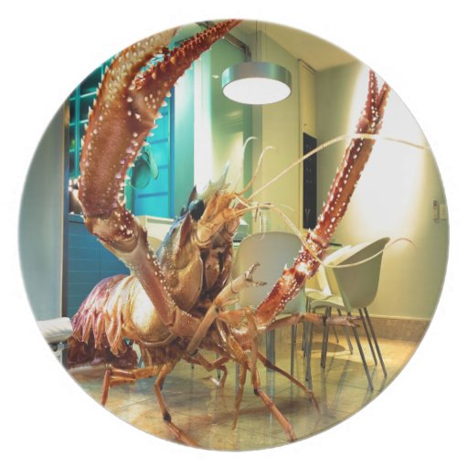 Abstract Animal Lobster House Dinner Plate