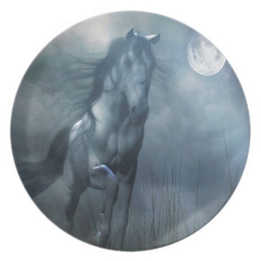 Abstract Animal Moonlight Horse Dinner Plate