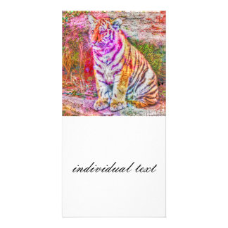 Abstract Animal-painted young tiger Card