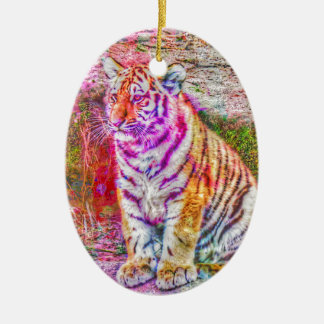 Abstract Animal-painted young tiger Ceramic Ornament