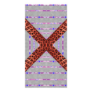 Abstract animal print floral stripes pattern card