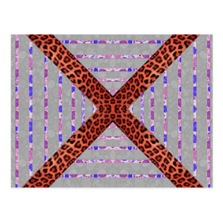 Abstract animal print floral stripes pattern postcard