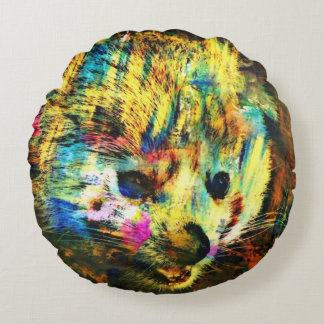 abstract Animal - red Panda Round Pillow