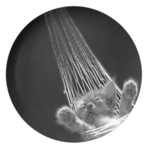 Abstract Animal Sleeping Kitty Plate
