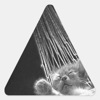 Abstract Animal Sleeping Kitty Triangle Sticker