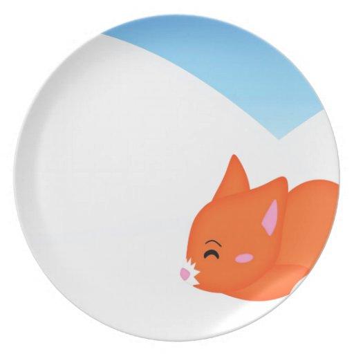 Abstract Animal Sleepy Fox Party Plates