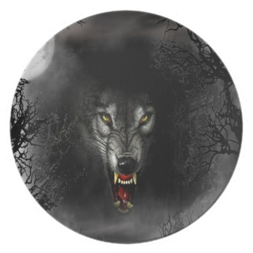 Abstract Animal Snarl Wolf Plate